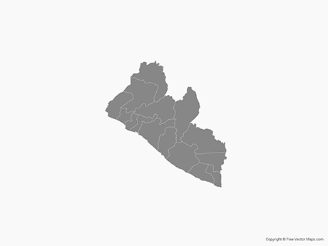 Free Vector Map of Liberia with Counties - Single Color