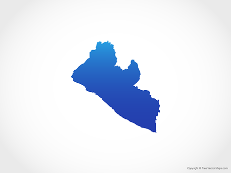 Free Vector Map of Liberia - Blue
