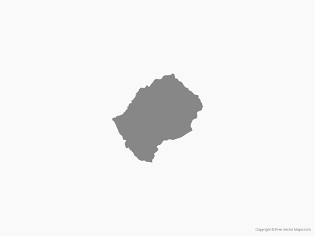 Map of Lesotho - Single Color