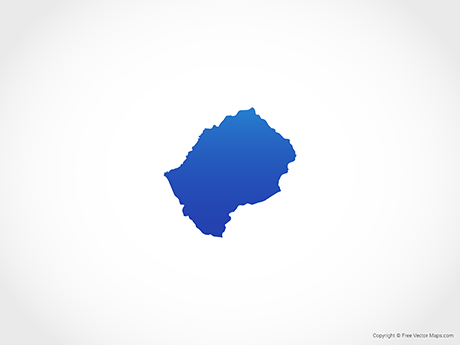 Free Vector Map of Lesotho - Blue