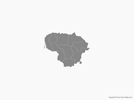 Free Vector Map of Lithuania with Counties - Single Color