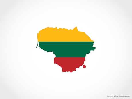 Free Vector Map of Lithuania - Flag