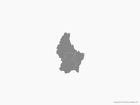 Free Vector Map of Luxembourg with Districts - Single Color