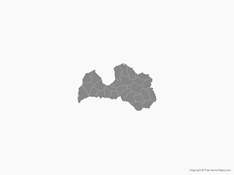 Free Vector Map of Latvia with Districts - Single Color