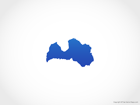 Map of Latvia - Blue