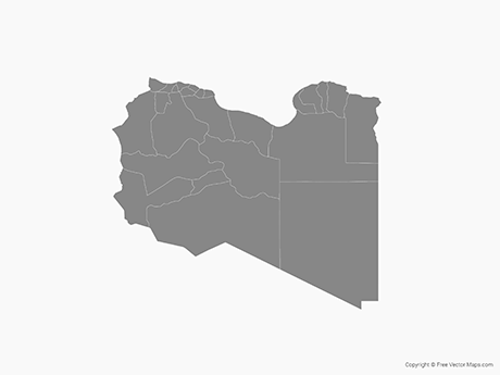 Free Vector Map of Libya with Districts - Single Color