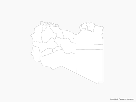 Free Vector Map of Libya with Districts - Outline