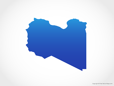 Free Vector Map of Libya - Blue