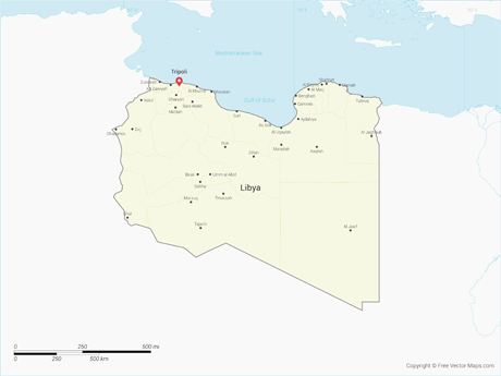 Vector Map of Libya with Districts