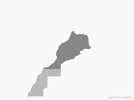 Free Vector Map of Morocco & Western Sahara - Single Color