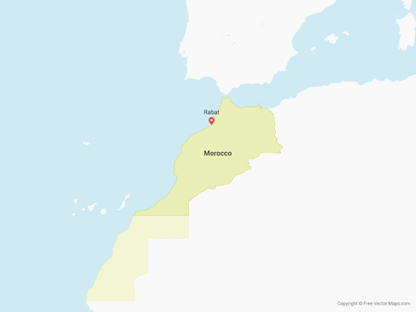 Free Vector Map of Morocco & Western Sahara