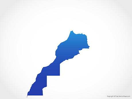Free Vector Map of Morocco & Western Sahara - Blue