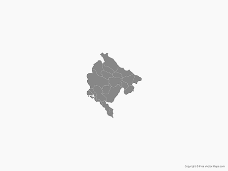 Free Vector Map of Montenegro with Municipalities - Single Color