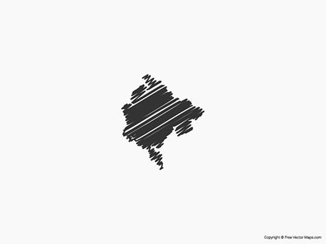 Free Vector Map of Montenegro - Sketch