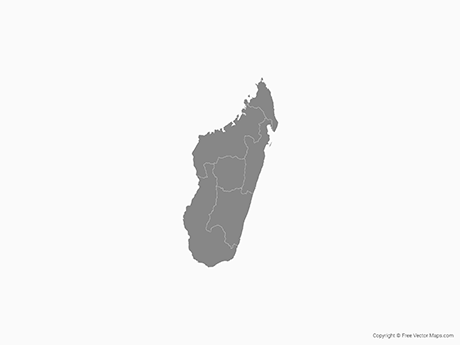 Free Vector Map of Madagascar with Provinces - Single Color