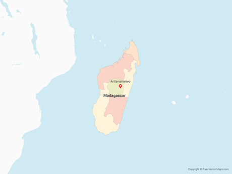 Free Vector Map of Madagascar with Provinces - Multicolor