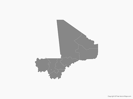 Free Vector Map of Mali with Departments - Single Color