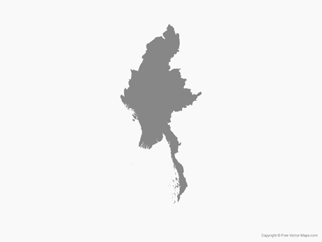 Free Vector Map of Myanmar - Single Color