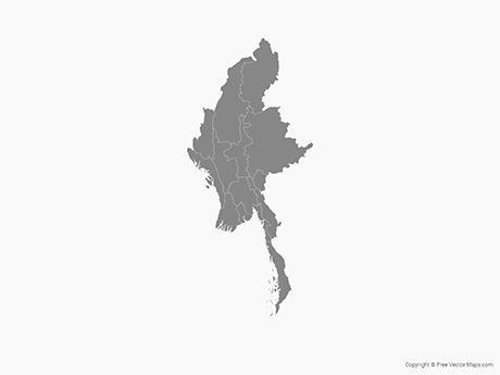 Free Vector Map of Myanmar with Regions - Single Color