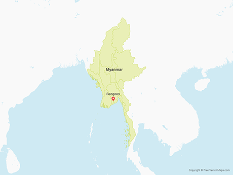 Free Vector Map of Myanmar with Regions