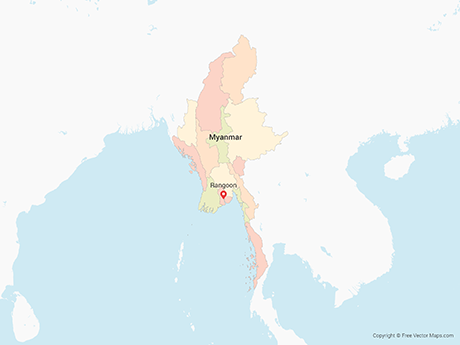 Free Vector Map of Myanmar with Regions - Muliticolor