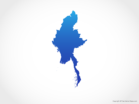 Free Vector Map of Myanmar - Blue