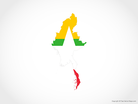 Free Vector Map of Myanmar - Flag