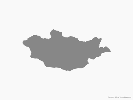 Free Vector Map of Mongolia - Single Color