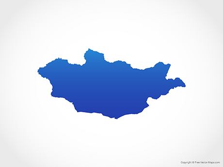 Free Vector Map of Mongolia - Blue
