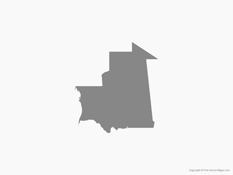 Free Vector Map of Mauritania - Single Color