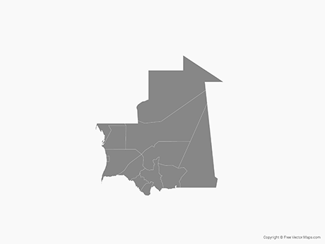 Free Vector Map of Mauritania with Departments - Single Color