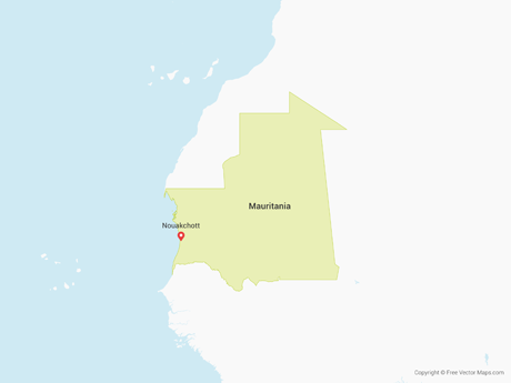 Free Vector Map of Mauritania