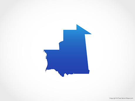 Free Vector Map of Mauritania - Blue
