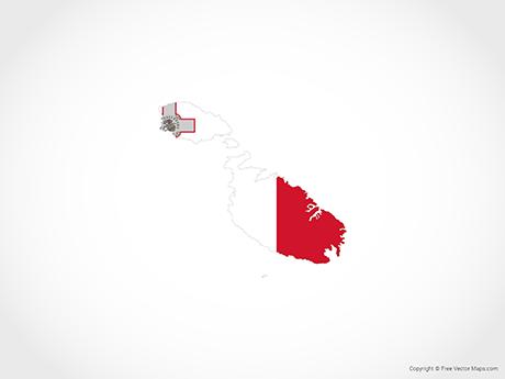 Free Vector Map of Malta - Flag