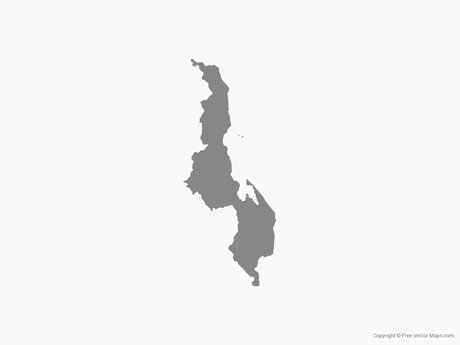Free Vector Map of Malawi - Single Color