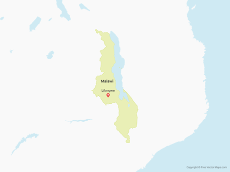 Free Vector Map of Malawi