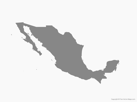 Free Vector Map of Mexico - Single Color