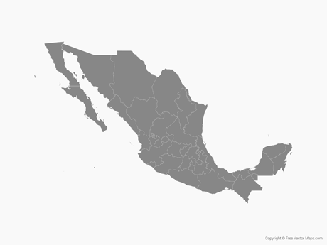Free Vector Map of Mexico with States - Single Color