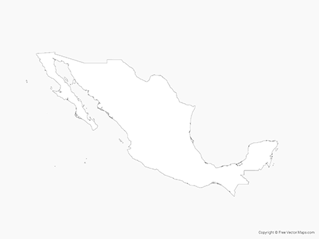 Free Vector Map of Mexico - Outline