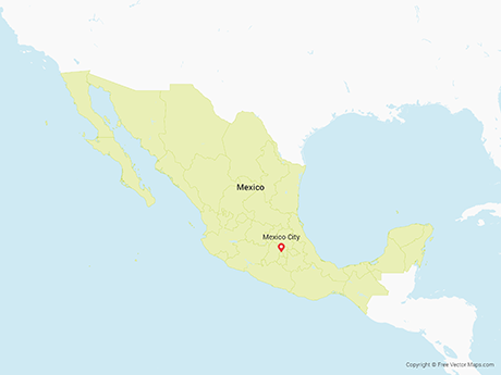 Free Vector Map of Mexico with States