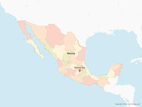Free Vector Map of Mexico with States - Multicolor