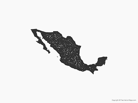 Free Vector Map of Mexico - Stamp
