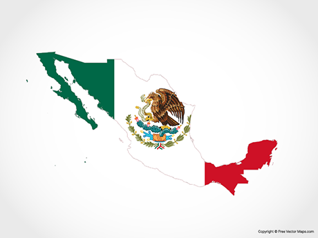 Free Vector Map of Mexico - Flag