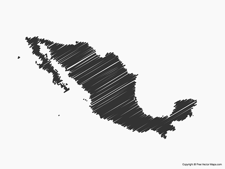 Free Vector Map of Mexico - Sketch