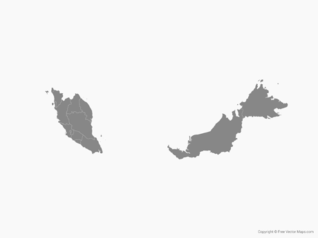 Free Vector Map of Malaysia with Regions - Single Color