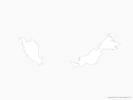 Free Vector Map of Malaysia - Outline
