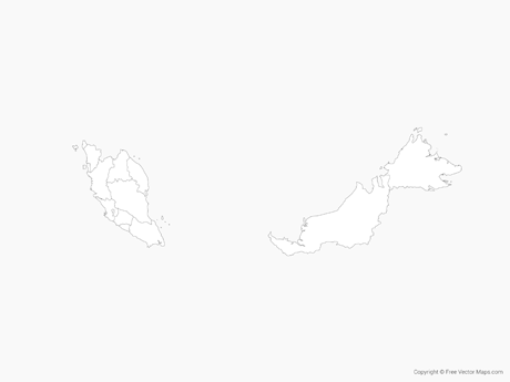 Free Vector Map of Malaysia with Regions - Outline