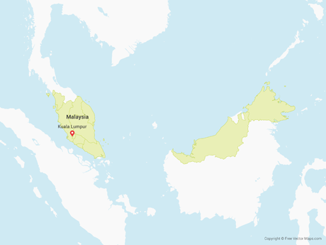 Free Vector Map of Malaysia with Regions