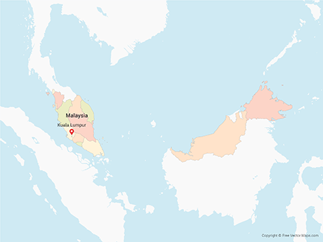 Free Vector Map of Malaysia with Regions - Multicolor