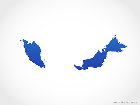 Free Vector Map of Malaysia - Blue